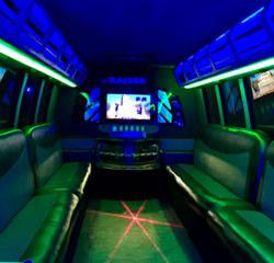 Las Vegas Stretched Limo Coach Party Bus Transportation Interior 1