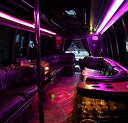 Las Vegas Stretched Limo Coach Party Bus Transportation Interior 2