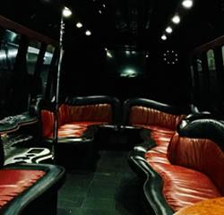 Las Vegas Stretched Limo Coach Party Bus Transportation Interior 3
