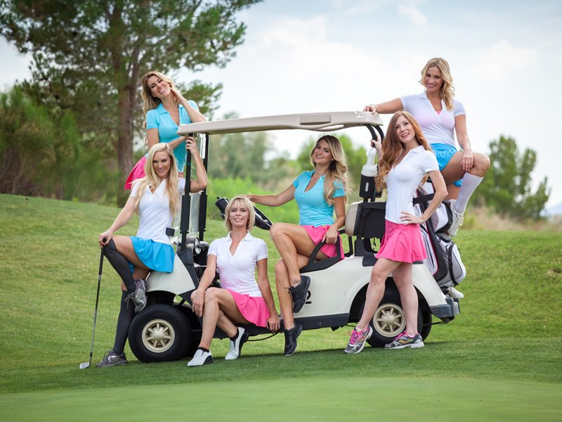 topless golf caddies